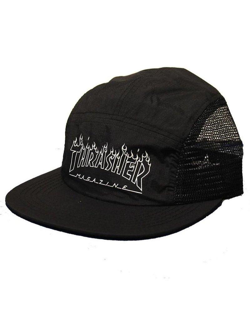 ce200d01cb565f Thrasher - Flame Outline 5 Panel Hat (Black) - Identity Boardshop