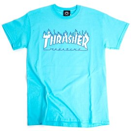 Thrasher Flames Tee - Sky Blue
