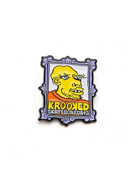 Krooked Skateboarding Frame Face Lapel Pin