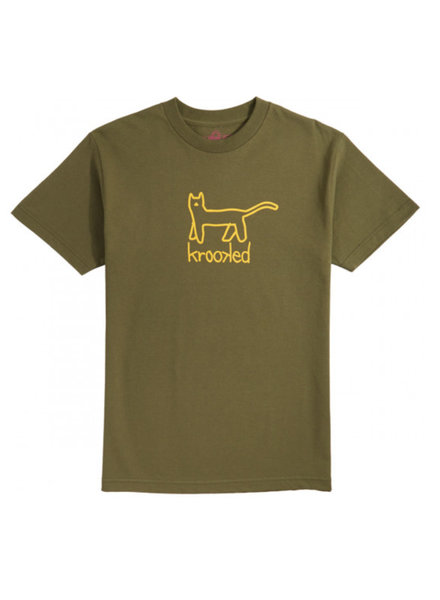Krooked Skateboarding Big Kat Tee - Army Green