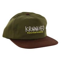 Krooked Skateboarding Krooked Eyes Adjustable Hat - Olive
