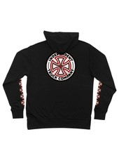 Independent Trucks INDEPENDENT RED/WHITE CROSS ZIP HOODED LIGHTWEIGHT SWEATSHIRT BLACK