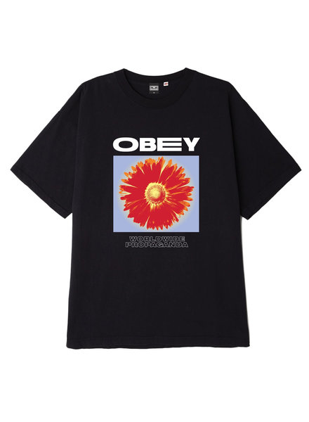 OBEY FLOWER POWER BLACK T-SHIRT