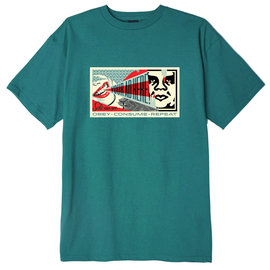 OBEY OBEY YOUR AD HERE TEAL T-SHIRT