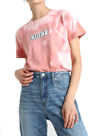 OBEY PHILOSOPHY T-SHIRT ROSE BLEACH