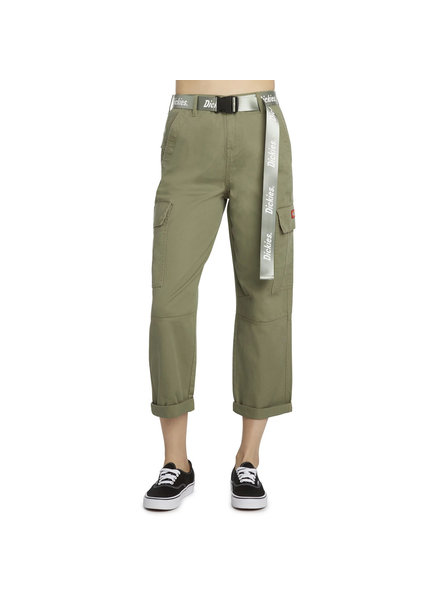 DICKIES BELTED CROPPED CARGO PANTS OLIVE