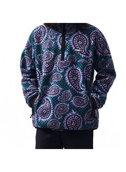 OBEY FLEECE EISLEY MOCK ZIP PAISLEY TEAL