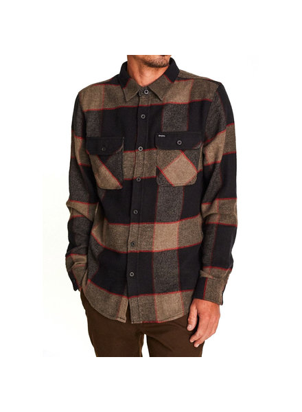 Brixton BOWERY L/S FLANNEL HEATHER GREY/CHARCOAL