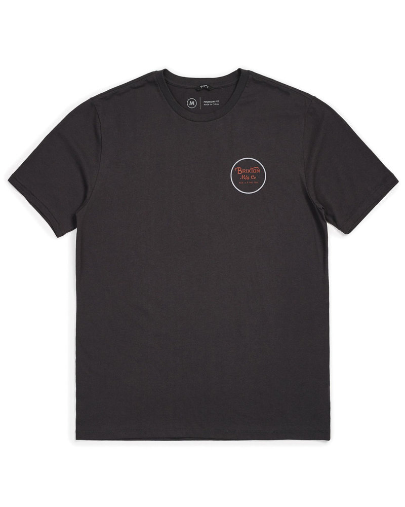 Brixton WHEELER II S/S PREM TEE WASHED BLACK/RED