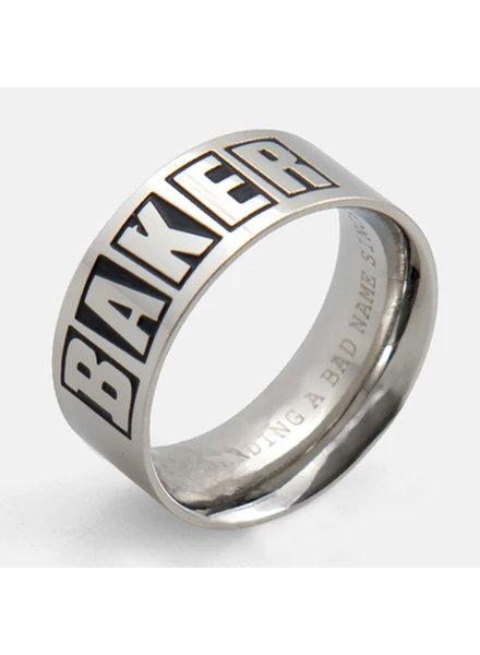 Baker Brand Logo Silver Ring Small
