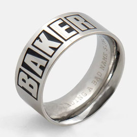 Baker Brand Logo Silver Ring Medium