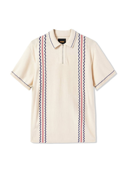 BUTTER Vito Zip Polo Shirt, Bone