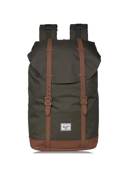 HERSCHEL Retreat 600D Poly Dark Olive/Saddle Brown Backpack