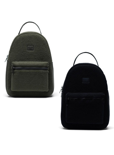 HERSCHEL Nova Small Sherpa Fleece Backpack Dark Olive and Black