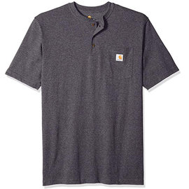 CARHARTT INC. Henley Workwear Pocket Short Sleeve T-Shirt Dark Gray