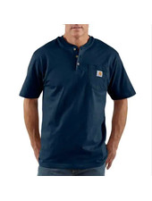 CARHARTT INC. Henley Workwear Pocket Short Sleeve Tee Navy