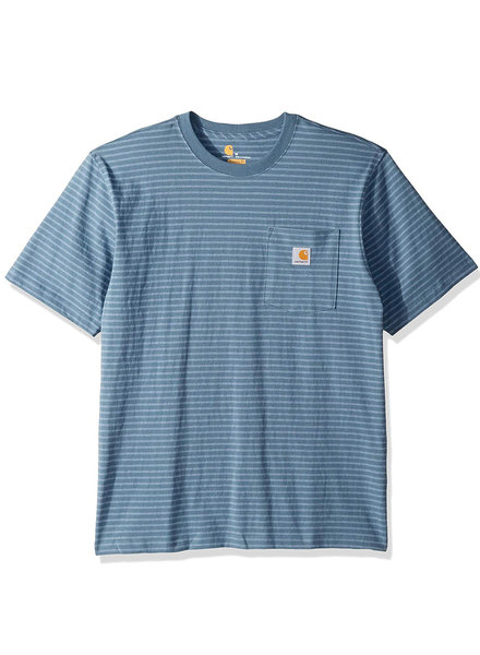 CARHARTT INC. Workwear Pocket Short Sleeve Blue Stripe Tee