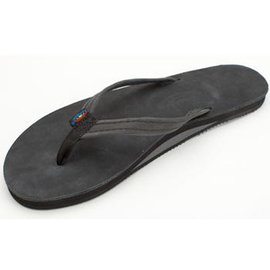 Rainbow Narrow Strap Premier Black Women's Sandal