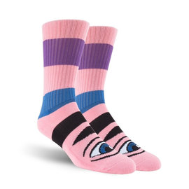 Toy Machine Sect Eye Stripe Socks - Pink Heather