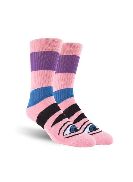 Toy Machine Sect Eye Stripe Socks - Pink Heather