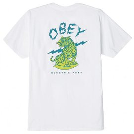 OBEY White Electric Fury Tiger Tee