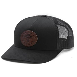 HAGGARD PIRATE Black Leather Retro Trucker Hat