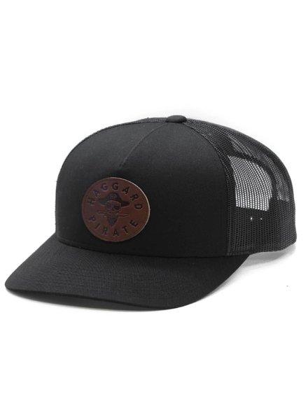 HAGGARD PIRATE Black Leather Retro Trucker Hat