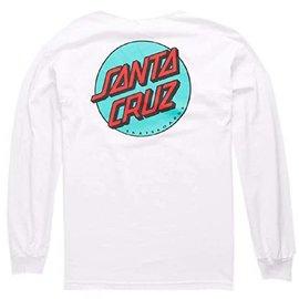 Santa Cruz Skateboards White/Teal Other Dot Long Sleeve Tee