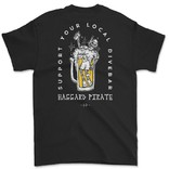 HAGGARD PIRATE Black Dive Bar Tee