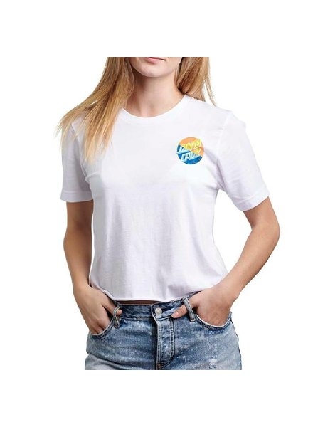 Santa Cruz Skateboards Women's White Dot Blocker Crop Top