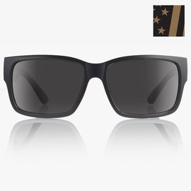 MADSON MADSON CLASSICO SUNGLASSES BLACK MATTE FLAG/GREY POLARIZED