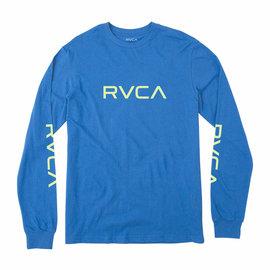 RVCA BIG RVCA LOGO LONG SLEEVE BLUE  T-SHIRT