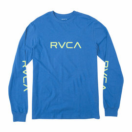 RVCA RVCA BIG RVCA LOGO LONG SLEEVE BLUE  T-SHIRT
