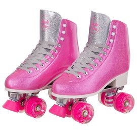 SKATE GEAR GLITTER LEATHER BOOT ROLLER SKATES
