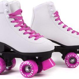 SKATE GEAR LEATHER BOOT PINK/WHITE ROLLER SKATES