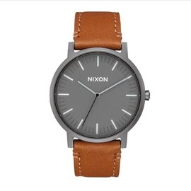 NIXON PORTER LEATHER GUNMETAL/CHARCOAL/TAUPE
