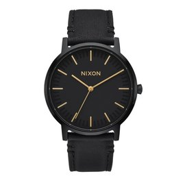 NIXON PORTER LEATHER ALL BLACK/GOLD WATCH