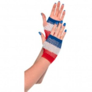 Red, White and Blue Fishnet Gloves