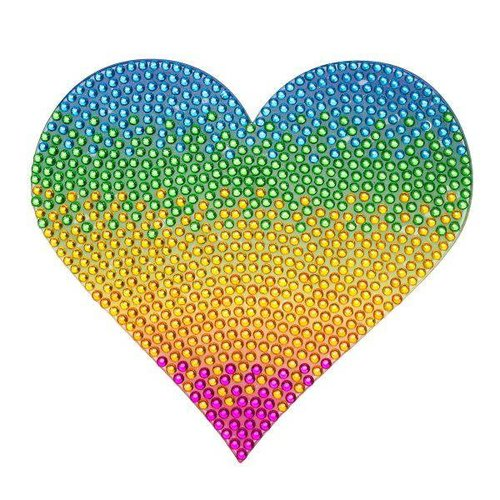 Med Rainbow Heart Sticker Bean