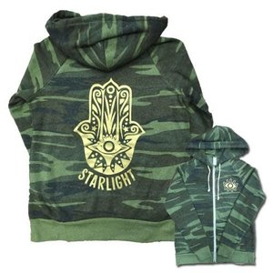 Gold Hamsa Camo Zip Up