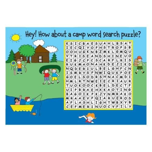 Camp Word Search Puzzle Card