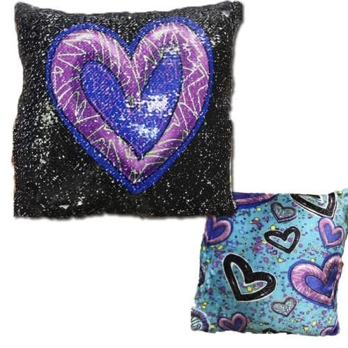 Swiggle Hearts Sequin Pillow