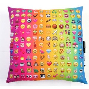 Rainbow Multi Emoji Autograph Pillow