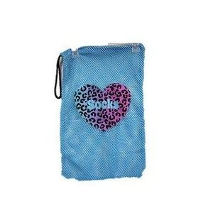 Leopard Heart Mesh Sock Bag