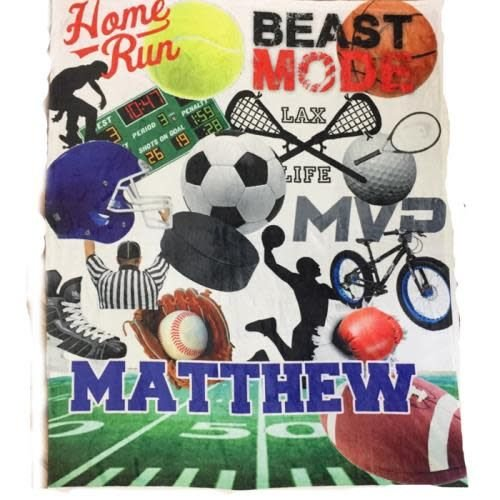 Boy Sports Collage Blanket