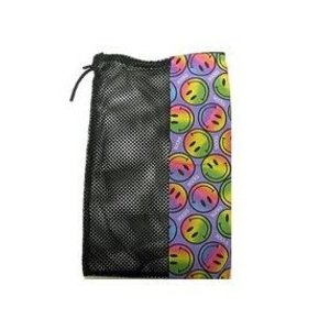 Rainbow Smiles on Purple Mesh Sock Bag