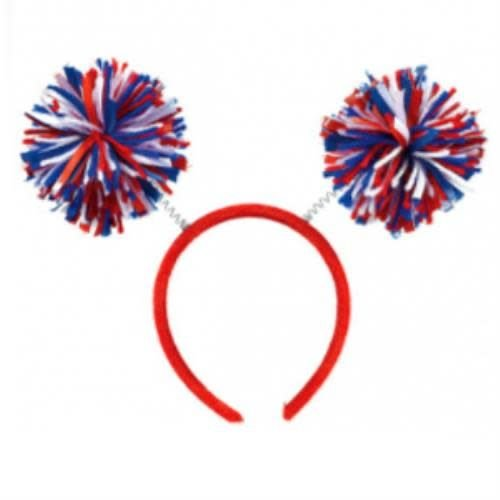 Red, White and Blue Pom Pom Headbopper