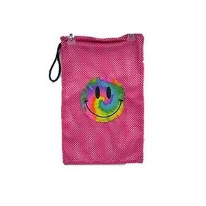Pink Smiley Face Mesh Sock Bag