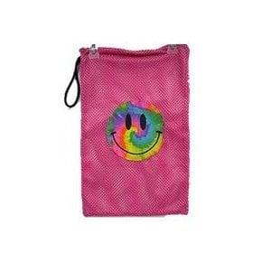 Pink Smiley Face Mesh Sock Bag