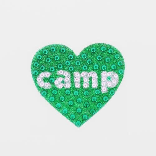 Green Camp Heart StickerBean